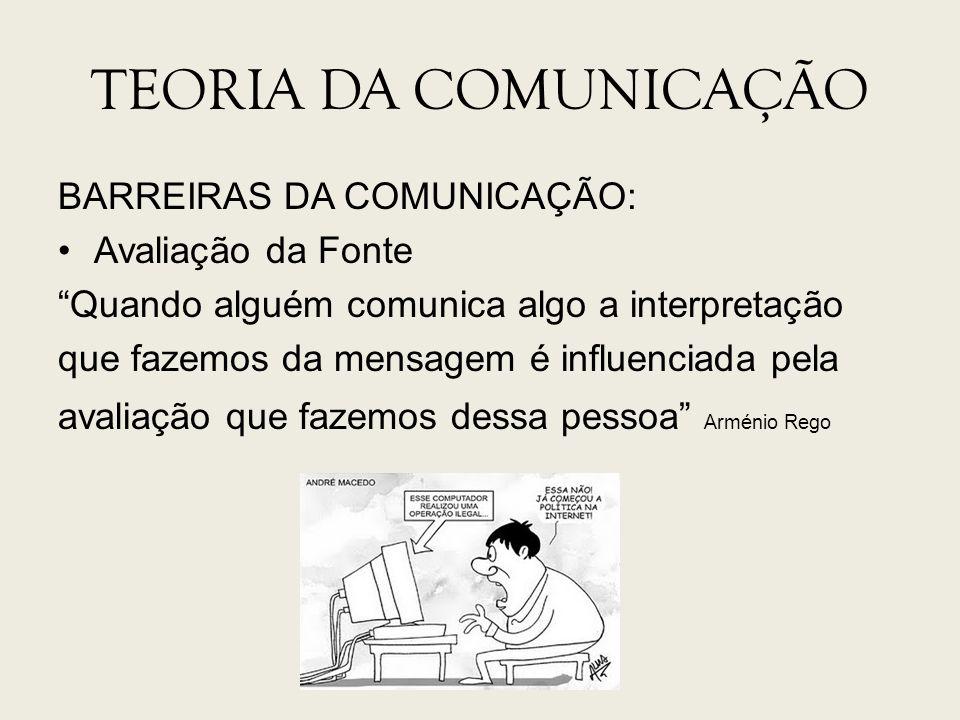 TEORIA DA COMUNICAÇÃO BARREIRAS DA COMUNICAÇÃO: Avaliação da Fonte Quando alguém comunica algo a interpretação que fazemos da mensagem é influenciada