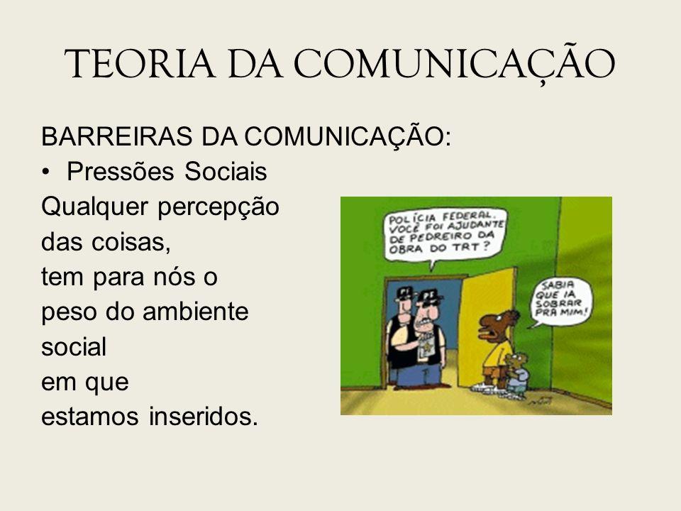 TEORIA DA COMUNICAÇÃO BARREIRAS DA COMUNICAÇÃO: Pressões Sociais Qualquer percepção das coisas, tem para nós o peso do ambiente social em que estamos