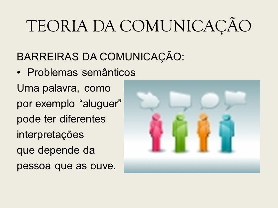 TEORIA DA COMUNICAÇÃO BARREIRAS DA COMUNICAÇÃO: Problemas semânticos Uma palavra, como por exemplo aluguer pode ter diferentes interpretações que depe
