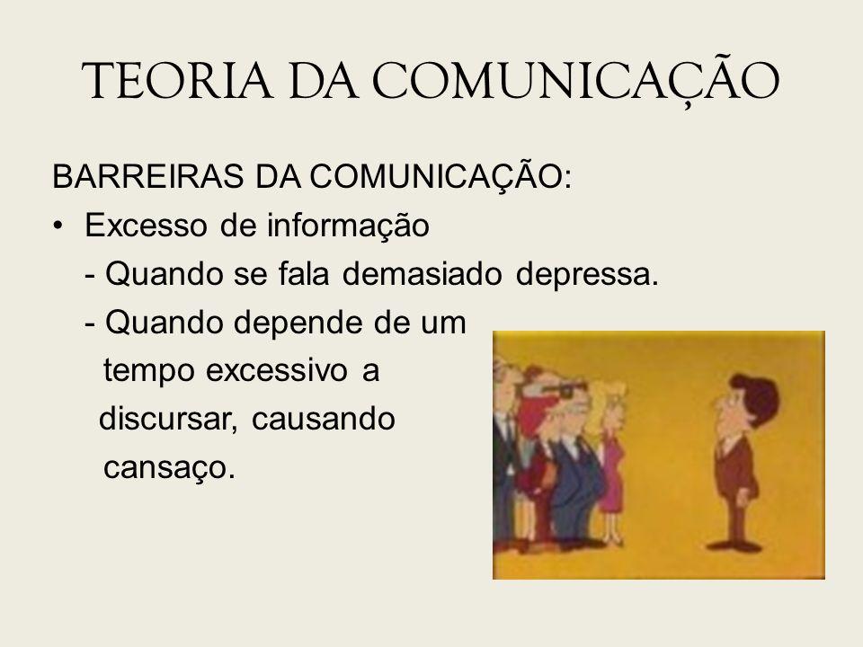 TEORIA DA COMUNICAÇÃO BARREIRAS DA COMUNICAÇÃO: Excesso de informação - Quando se fala demasiado depressa. - Quando depende de um tempo excessivo a di