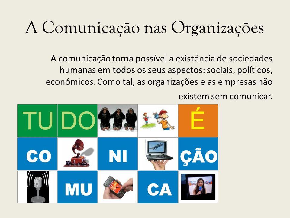 A Comunicação nas Organizações A comunicação torna possível a existência de sociedades humanas em todos os seus aspectos: sociais, políticos, económic