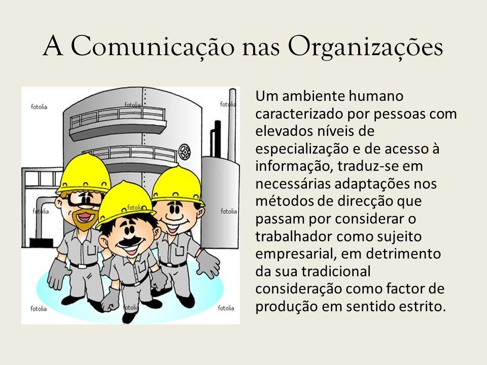 A Comunicação nas Organizações Um ambiente humano caracterizado por pessoas com elevados níveis de especialização e de acesso à informação, traduz-se