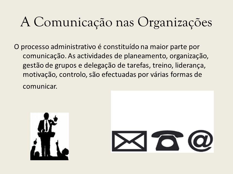 O processo administrativo é constituído na maior parte por comunicação. As actividades de planeamento, organização, gestão de grupos e delegação de ta