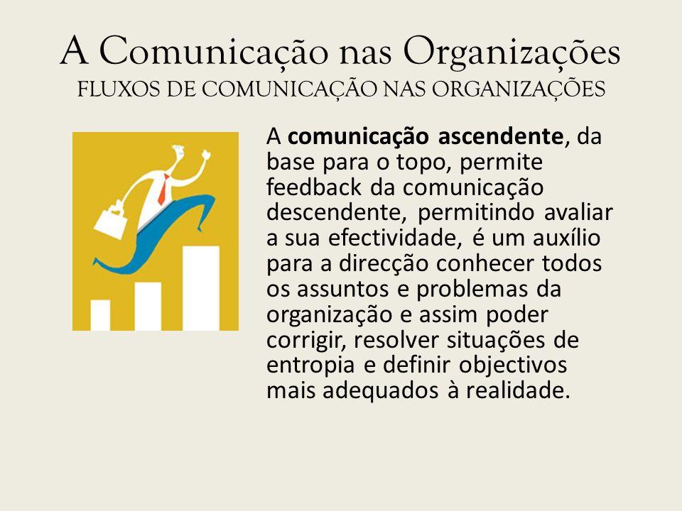 A Comunicação nas Organizações FLUXOS DE COMUNICAÇÃO NAS ORGANIZAÇÕES A comunicação ascendente, da base para o topo, permite feedback da comunicação d