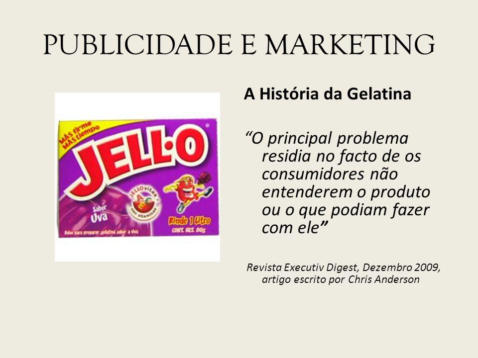 PUBLICIDADE E MARKETING A História da Gelatina O principal problema residia no facto de os consumidores não entenderem o produto ou o que podiam fazer