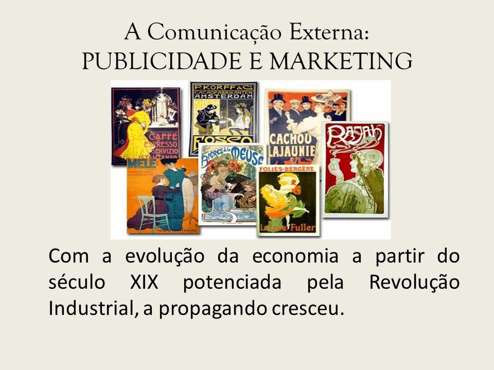 A Comunicação Externa: PUBLICIDADE E MARKETING Com a evolução da economia a partir do século XIX potenciada pela Revolução Industrial, a propagando cr