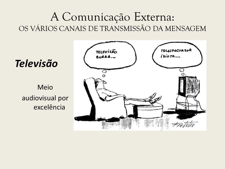 A Comunicação Externa: OS VÁRIOS CANAIS DE TRANSMISSÃO DA MENSAGEM Televisão Meio audiovisual por excelência