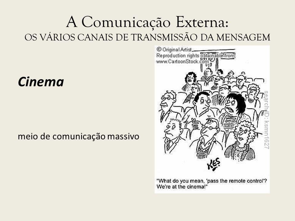 A Comunicação Externa: OS VÁRIOS CANAIS DE TRANSMISSÃO DA MENSAGEM Cinema meio de comunicação massivo