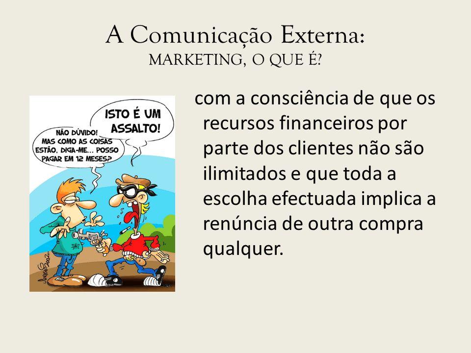 A Comunicação Externa: MARKETING, O QUE É? com a consciência de que os recursos financeiros por parte dos clientes não são ilimitados e que toda a esc