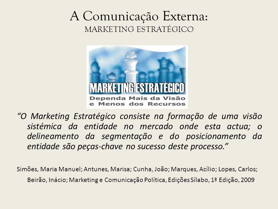 A Comunicação Externa: MARKETING ESTRATÉGICO O Marketing Estratégico consiste na formação de uma visão sistémica da entidade no mercado onde esta actu
