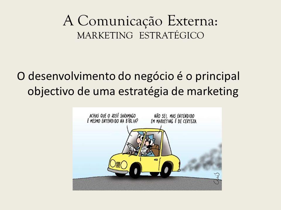 A Comunicação Externa: MARKETING ESTRATÉGICO O desenvolvimento do negócio é o principal objectivo de uma estratégia de marketing