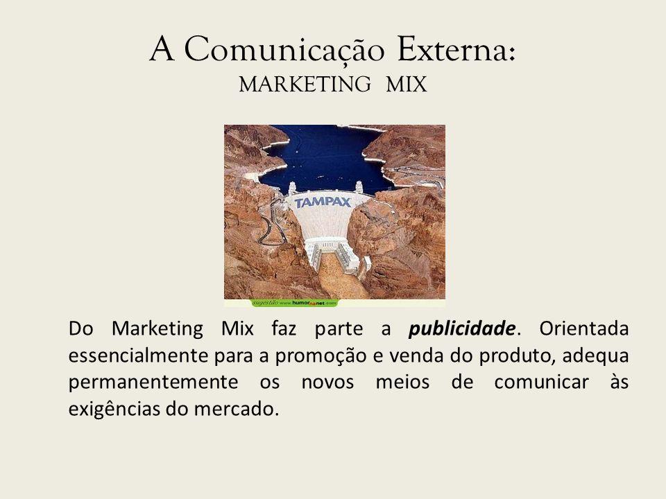 A Comunicação Externa: MARKETING MIX Do Marketing Mix faz parte a publicidade. Orientada essencialmente para a promoção e venda do produto, adequa per