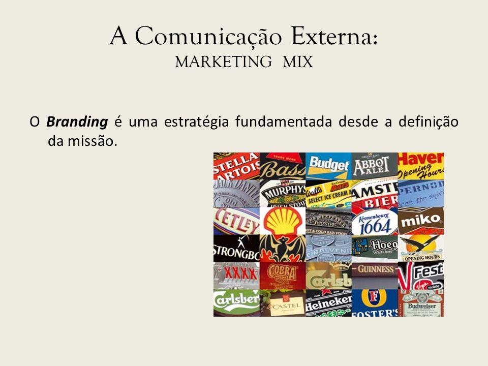A Comunicação Externa: MARKETING MIX O Branding é uma estratégia fundamentada desde a definição da missão.