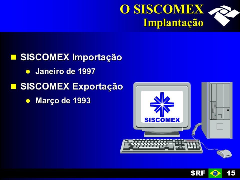 SRF15 O SISCOMEX Implantação SISCOMEX Importação SISCOMEX Importação Janeiro de 1997 Janeiro de 1997 SISCOMEX Exportação SISCOMEX Exportação Março de 1993 Março de 1993