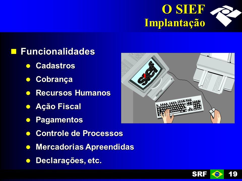 SRF19 O SIEF Implantação Funcionalidades Funcionalidades Cadastros Cadastros Cobrança Cobrança Recursos Humanos Recursos Humanos Ação Fiscal Ação Fiscal Pagamentos Pagamentos Controle de Processos Controle de Processos Mercadorias Apreendidas Mercadorias Apreendidas Declarações, etc.