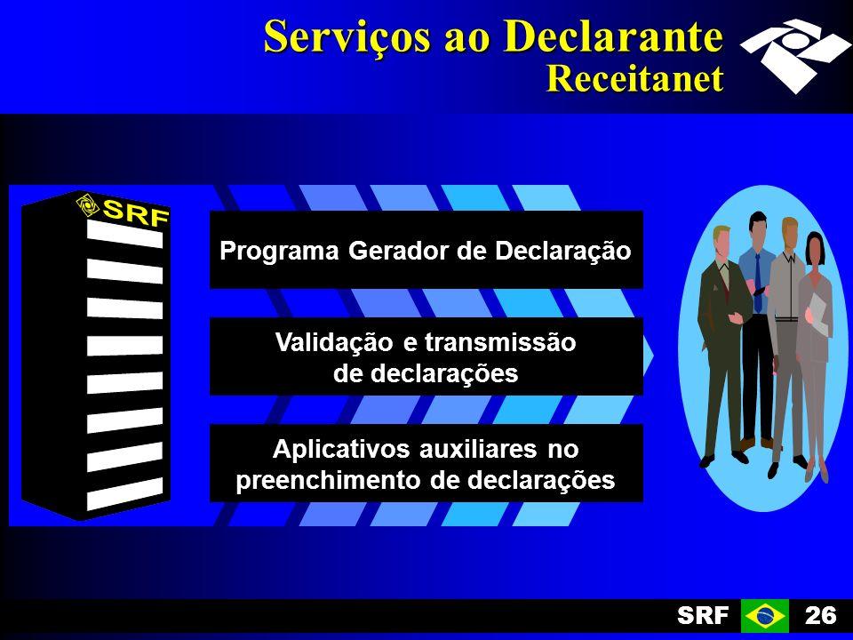 SRF26 Serviços ao Declarante Receitanet Programa Gerador de Declaração Validação e transmissão de declarações Aplicativos auxiliares no preenchimento de declarações