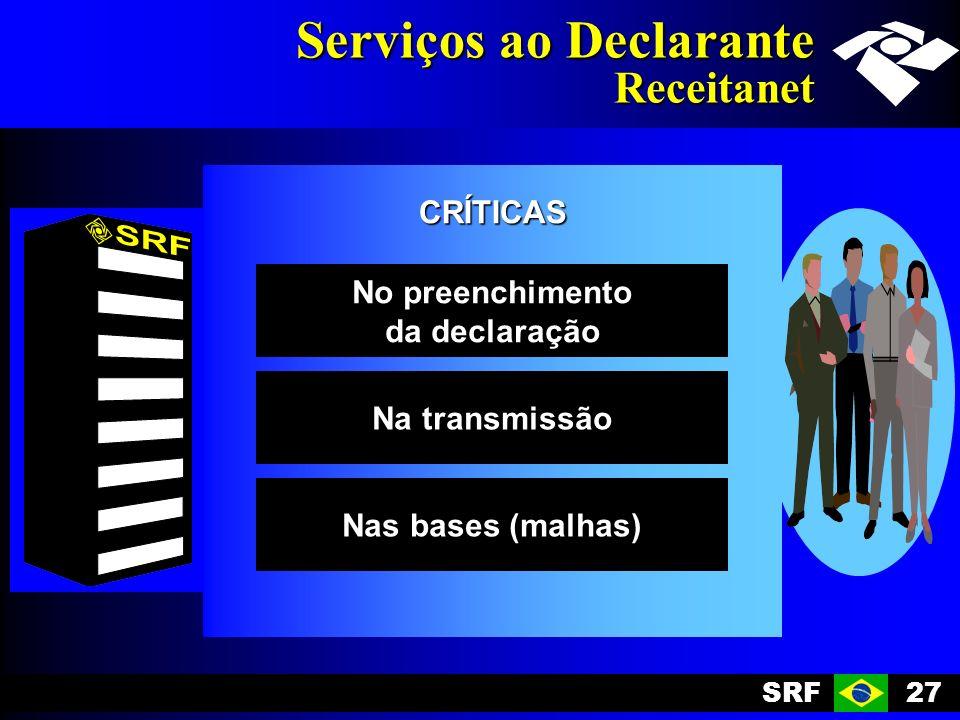 SRF27 Serviços ao Declarante Receitanet CRÍTICAS No preenchimento da declaração Na transmissão Nas bases (malhas)