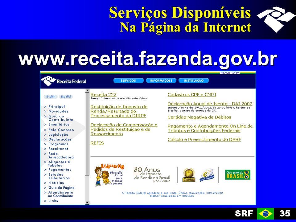 SRF35 Serviços Disponíveis Na Página da Internet www.receita.fazenda.gov.br