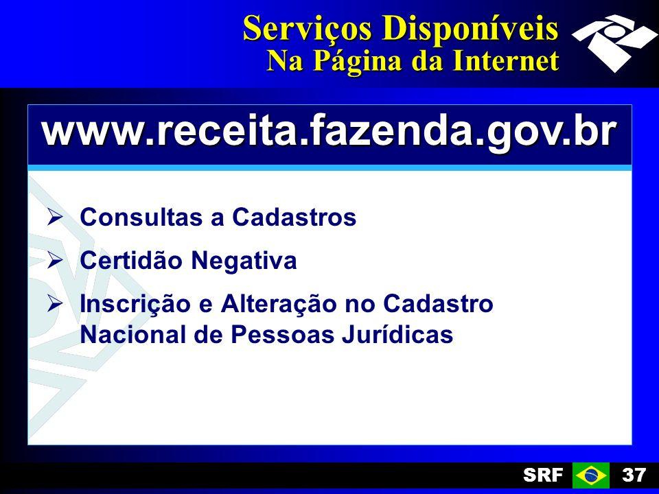 SRF37 Serviços Disponíveis Na Página da Internet www.receita.fazenda.gov.br Consultas a Cadastros Certidão Negativa Inscrição e Alteração no Cadastro Nacional de Pessoas Jurídicas