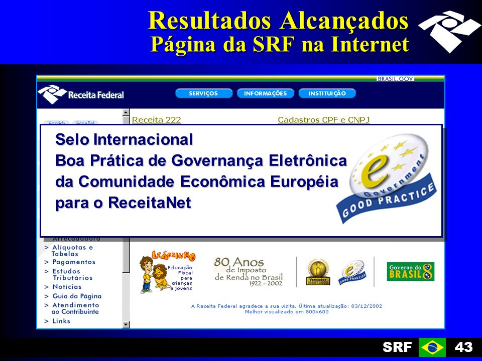 SRF43 Resultados Alcançados Página da SRF na Internet Selo Internacional Boa Prática de Governança Eletrônica da Comunidade Econômica Européia para o ReceitaNet