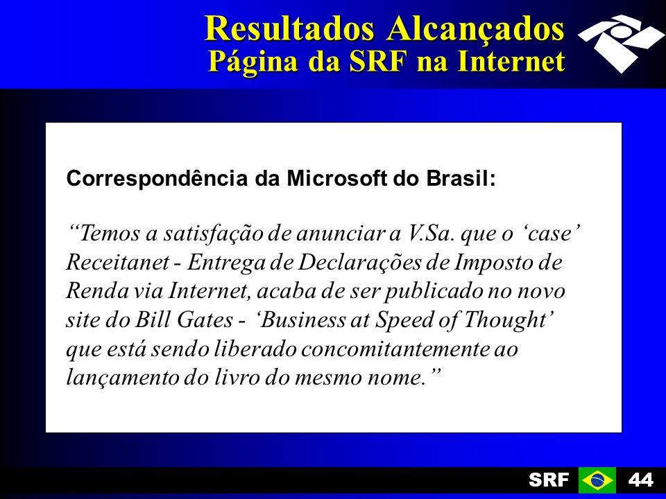 SRF44 Resultados Alcançados Página da SRF na Internet Correspondência da Microsoft do Brasil: Temos a satisfação de anunciar a V.Sa. que o case Receit
