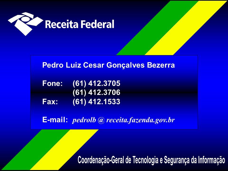 Pedro Luiz Cesar Gonçalves Bezerra Fone:(61) 412.3705 (61) 412.3706 Fax:(61) 412.1533 E-mail: pedrolb @ receita.fazenda.gov.br