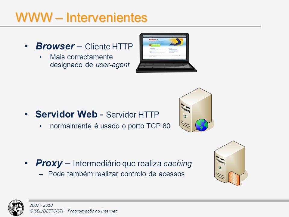 2007 - 2010 ©ISEL/DEETC/STI – Programação na Internet WWW – Intervenientes Browser – Cliente HTTP Mais correctamente designado de user-agent Servidor