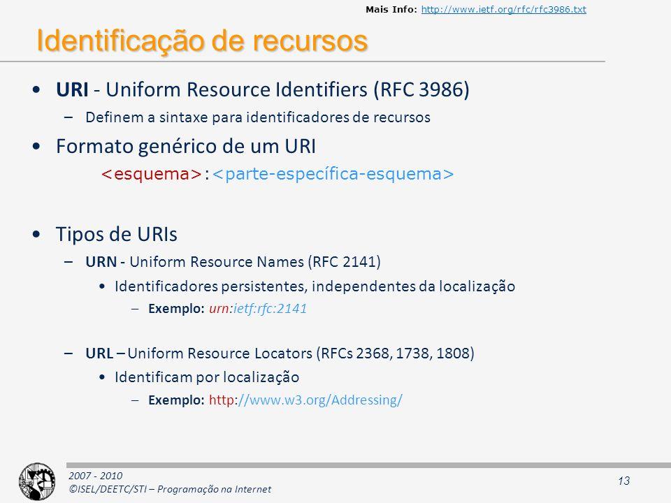 2007 - 2010 ©ISEL/DEETC/STI – Programação na Internet Identificação de recursos URI - Uniform Resource Identifiers (RFC 3986) –Definem a sintaxe para