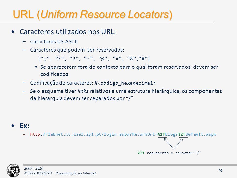 2007 - 2010 ©ISEL/DEETC/STI – Programação na Internet URL (Uniform Resource Locators) Caracteres utilizados nos URL: –Caracteres US-ASCII –Caracteres