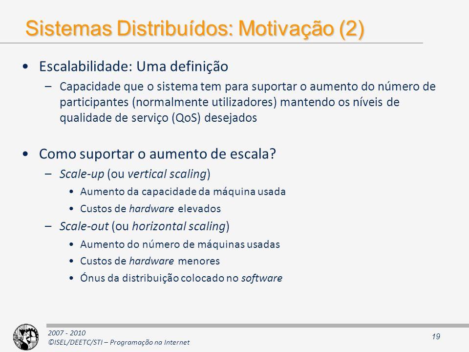 2007 - 2010 ©ISEL/DEETC/STI – Programação na Internet Sistemas Distribuídos: Motivação (2) Escalabilidade: Uma definição –Capacidade que o sistema tem