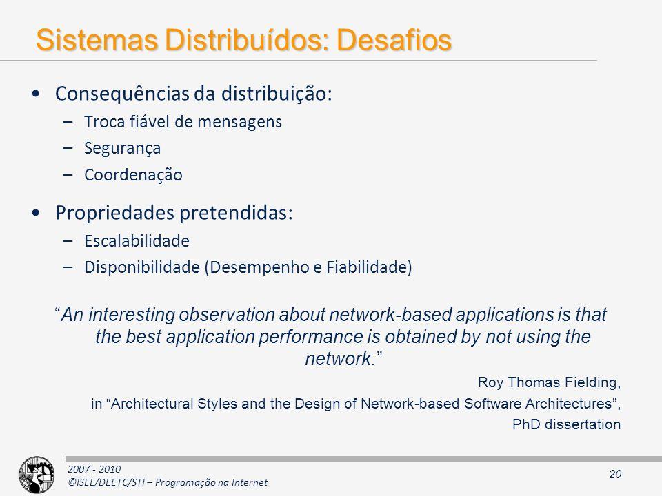 2007 - 2010 ©ISEL/DEETC/STI – Programação na Internet Sistemas Distribuídos: Desafios Consequências da distribuição: –Troca fiável de mensagens –Segur