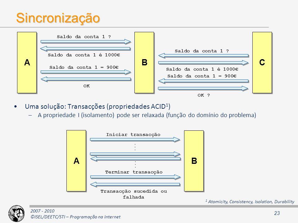 2007 - 2010 ©ISEL/DEETC/STI – Programação na Internet Sincronização Uma solução: Transacções (propriedades ACID 1 ) –A propriedade I (isolamento) pode
