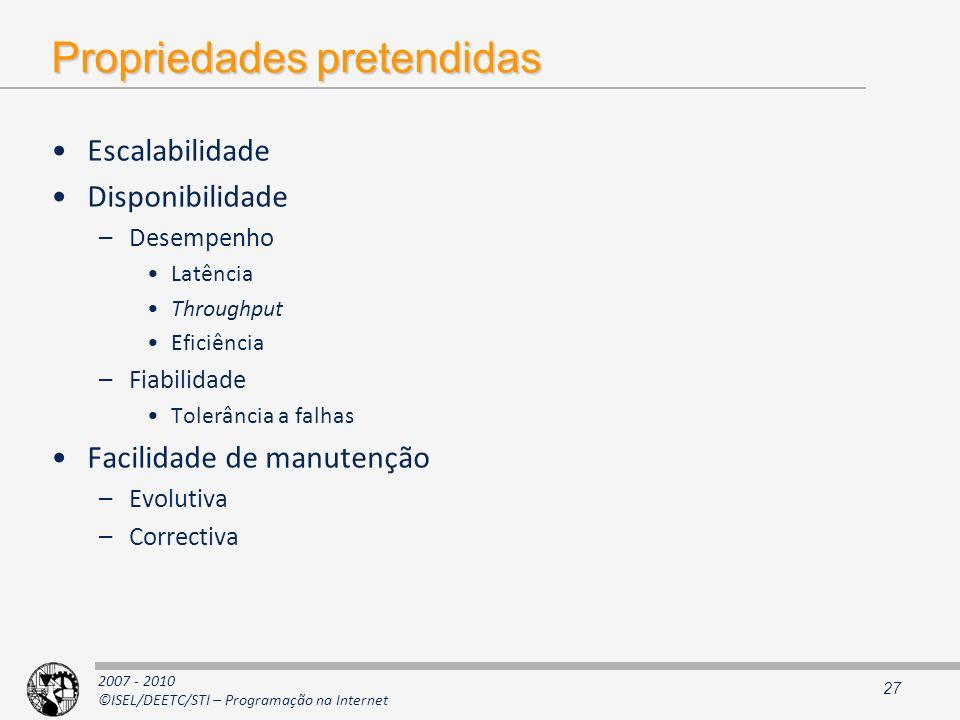 2007 - 2010 ©ISEL/DEETC/STI – Programação na Internet Propriedades pretendidas Escalabilidade Disponibilidade –Desempenho Latência Throughput Eficiênc