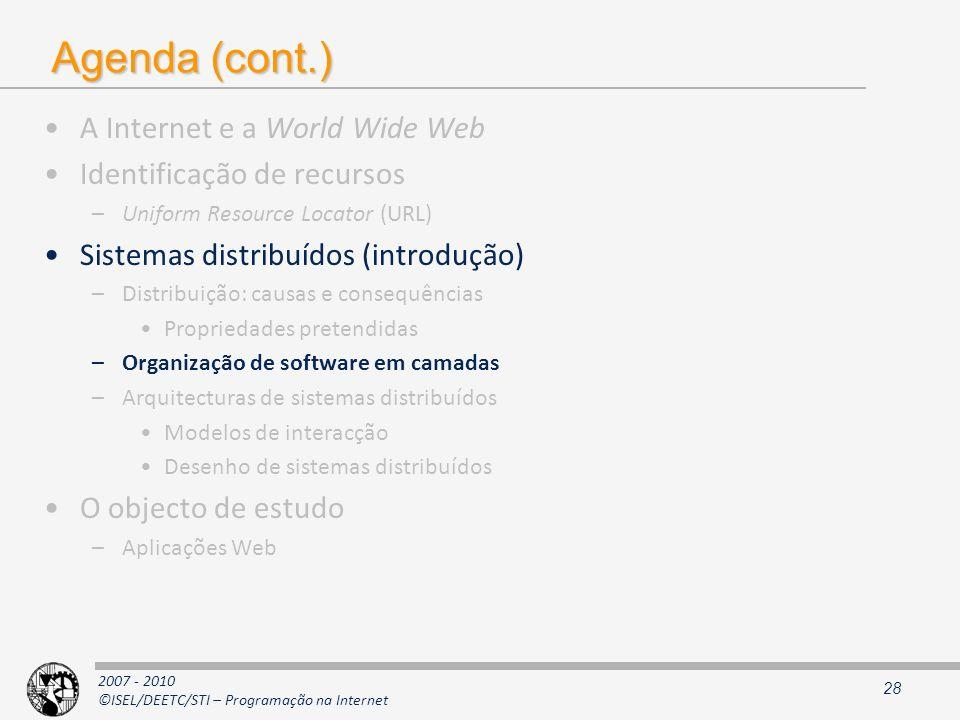 2007 - 2010 ©ISEL/DEETC/STI – Programação na Internet Agenda (cont.) A Internet e a World Wide Web Identificação de recursos –Uniform Resource Locator