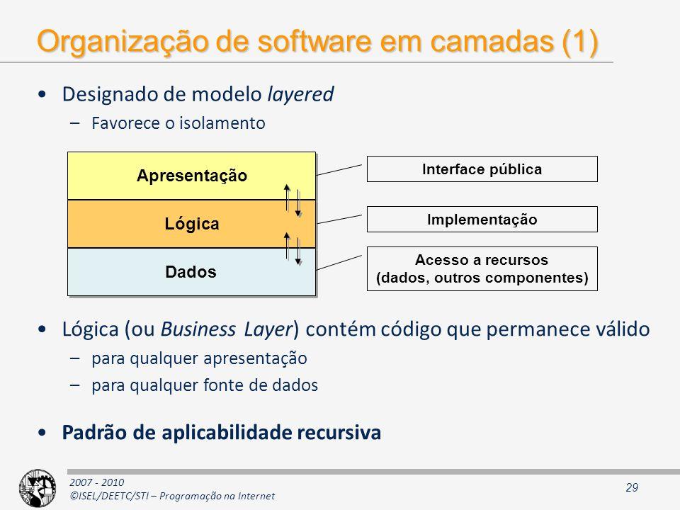 2007 - 2010 ©ISEL/DEETC/STI – Programação na Internet Organização de software em camadas (1) Designado de modelo layered –Favorece o isolamento 29 Apr