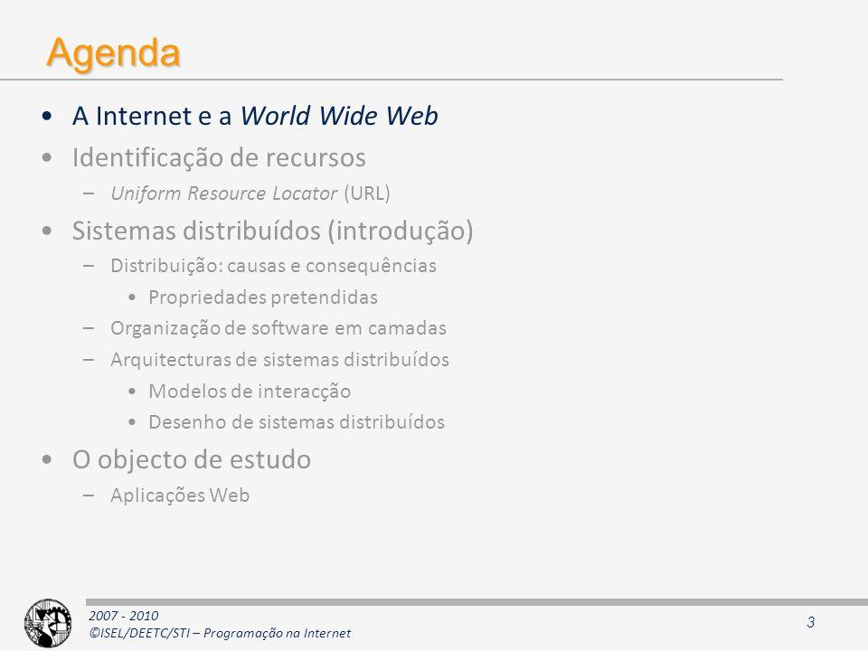 2007 - 2010 ©ISEL/DEETC/STI – Programação na Internet Agenda A Internet e a World Wide Web Identificação de recursos –Uniform Resource Locator (URL) S