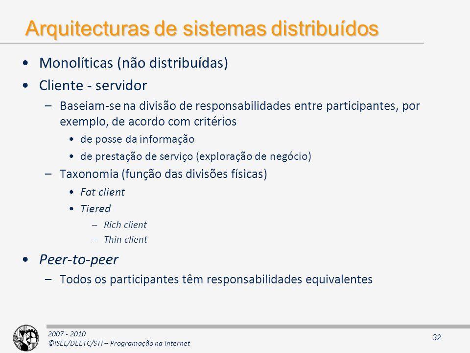 2007 - 2010 ©ISEL/DEETC/STI – Programação na Internet Arquitecturas de sistemas distribuídos Monolíticas (não distribuídas) Cliente - servidor –Baseia