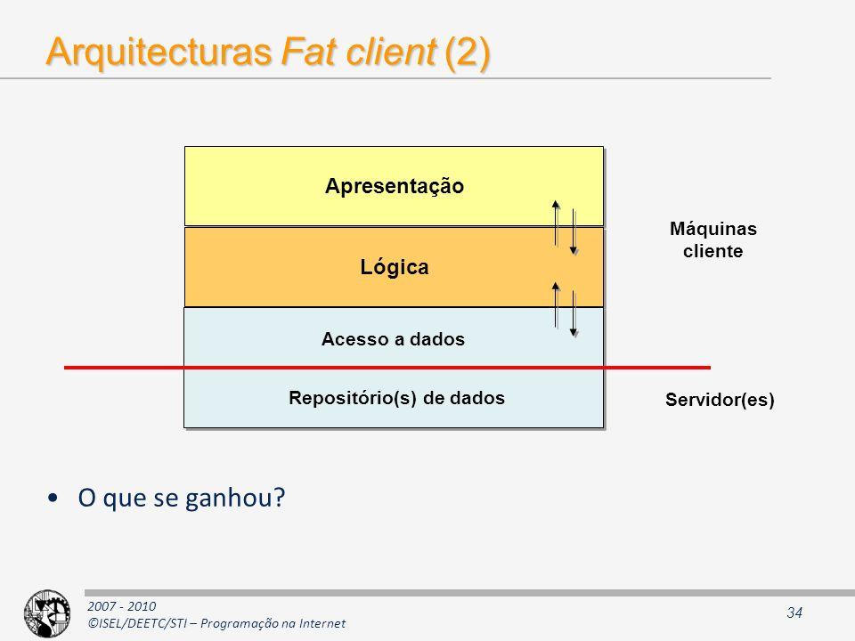 2007 - 2010 ©ISEL/DEETC/STI – Programação na Internet Arquitecturas Fat client (2) O que se ganhou? 34 Apresentação Lógica Máquinas cliente Servidor(e