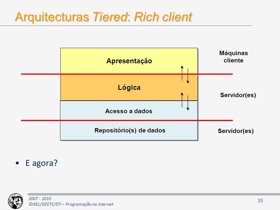 2007 - 2010 ©ISEL/DEETC/STI – Programação na Internet Arquitecturas Tiered: Rich client E agora? 35 Apresentação Lógica Máquinas cliente Servidor(es)