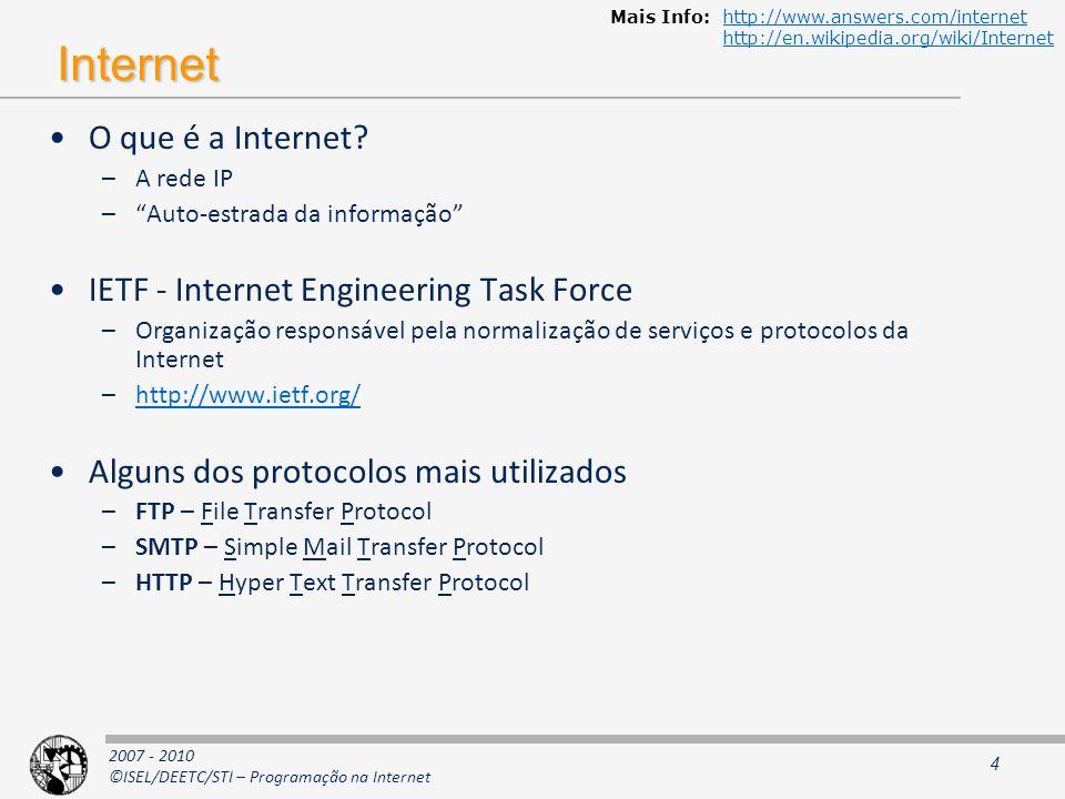 2007 - 2010 ©ISEL/DEETC/STI – Programação na Internet Fonte: http://www.opte.org/maps/ net, ca, us com, org mil, gov, edu jp, cn, tw, au de, uk, it, pl, fr br, kr, nl unknown Legenda: Rotas na internet (cerca de 30%) Data: Jan 15 2005