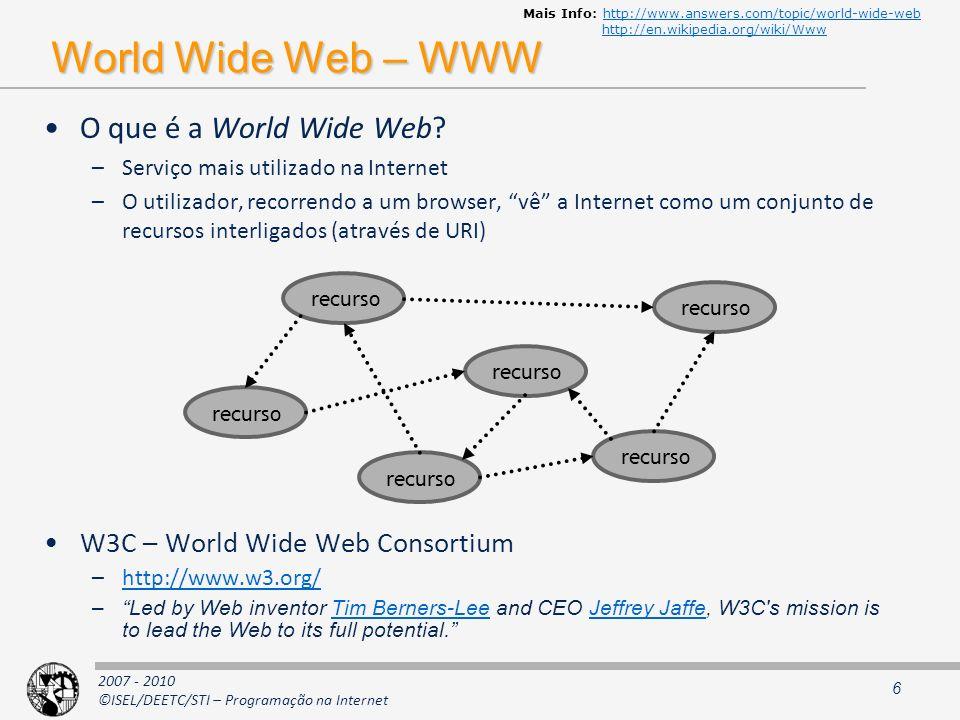 2007 - 2010 ©ISEL/DEETC/STI – Programação na Internet Propriedades pretendidas Escalabilidade Disponibilidade –Desempenho Latência Throughput Eficiência –Fiabilidade Tolerância a falhas Facilidade de manutenção –Evolutiva –Correctiva 27
