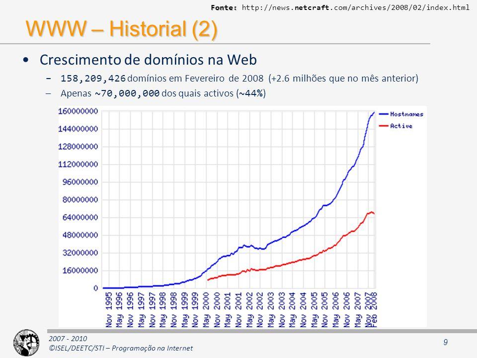 2007 - 2010 ©ISEL/DEETC/STI – Programação na Internet Desenho de sistemas distribuídos (2) Algumas ideias: (serão revisitadas) –Dados Caching (tratamento difere de acordo com a natureza dos dados) Replicação (total ou parcial) –Serviços Replicação (Clustering) –Replicação favorece balanceamento de carga (estático e dinâmico) –Favorecimento de: soluções stateless modelos de interacção assíncronos –Gestão de recursos: Activação just in time Utilização de pools Estado de conversação 40