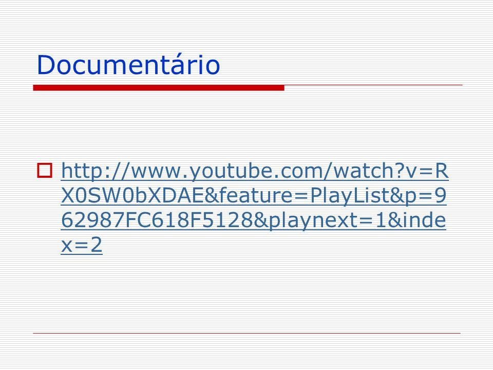 Documentário http://www.youtube.com/watch?v=R X0SW0bXDAE&feature=PlayList&p=9 62987FC618F5128&playnext=1&inde x=2 http://www.youtube.com/watch?v=R X0S