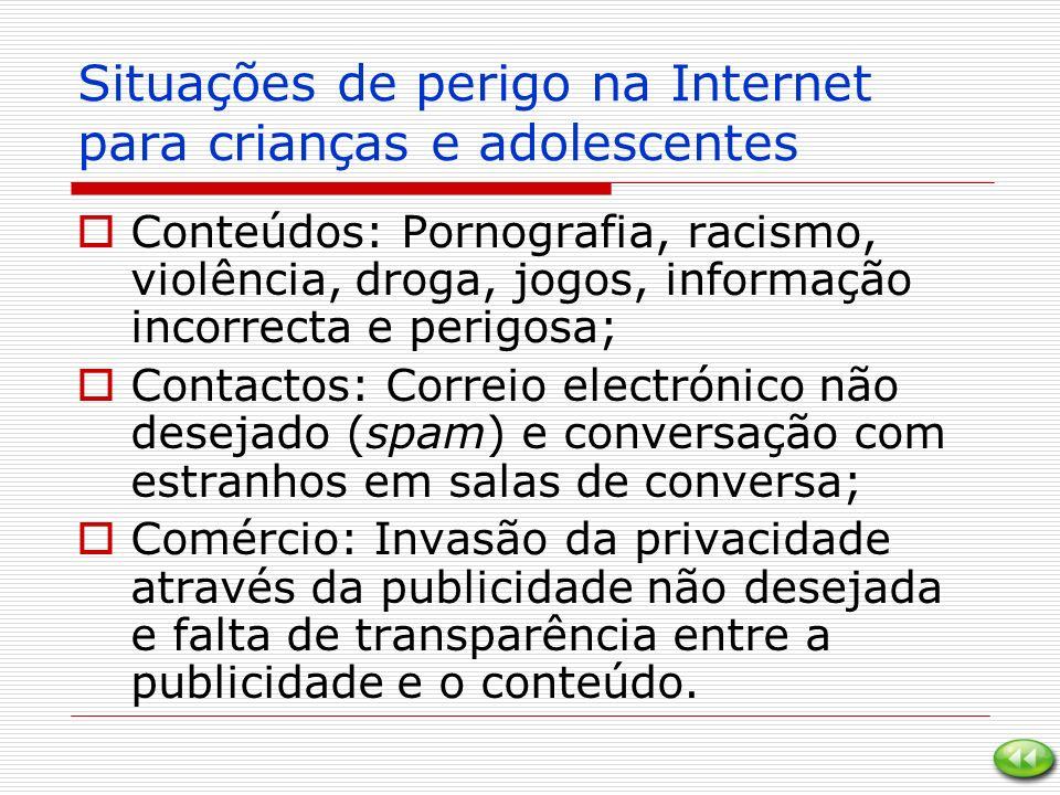 Situações de perigo na Internet para crianças e adolescentes Conteúdos: Pornografia, racismo, violência, droga, jogos, informação incorrecta e perigos