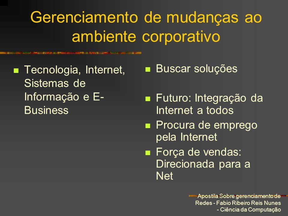 Apostila Sobre gerenciamento de Redes - Fabio Ribeiro Reis Nunes - Ciência da Computação Gerenciamento de mudanças ao ambiente corporativo Tecnologia,