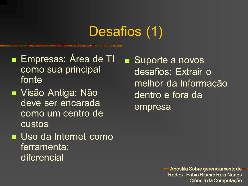 Apostila Sobre gerenciamento de Redes - Fabio Ribeiro Reis Nunes - Ciência da Computação Desafios (1) Empresas: Área de TI como sua principal fonte Vi