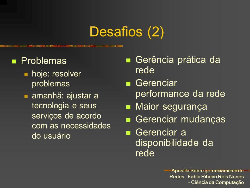 Apostila Sobre gerenciamento de Redes - Fabio Ribeiro Reis Nunes - Ciência da Computação Desafios (2) Problemas hoje: resolver problemas amanhã: ajust
