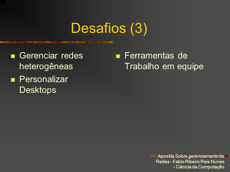 Apostila Sobre gerenciamento de Redes - Fabio Ribeiro Reis Nunes - Ciência da Computação Desafios (3) Gerenciar redes heterogêneas Personalizar Deskto