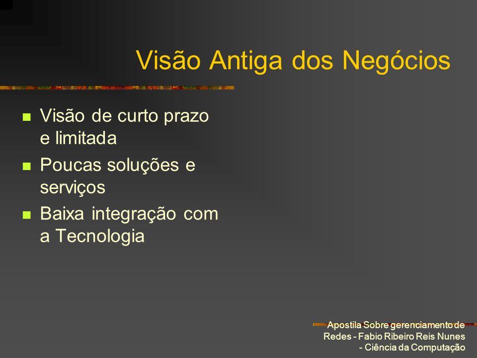 Apostila Sobre gerenciamento de Redes - Fabio Ribeiro Reis Nunes - Ciência da Computação Visão Antiga dos Negócios Visão de curto prazo e limitada Pou