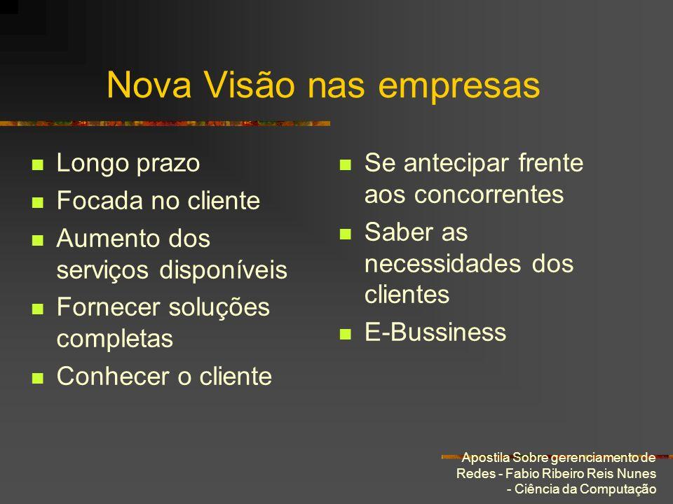 Apostila Sobre gerenciamento de Redes - Fabio Ribeiro Reis Nunes - Ciência da Computação Nova Visão nas empresas Longo prazo Focada no cliente Aumento